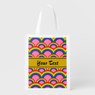 Seamless pattern with rainbows reusable grocery bag