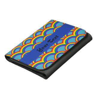 Seamless pattern with rainbows wallets