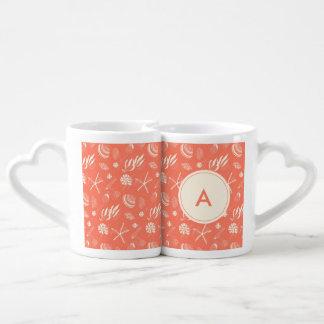 Seamless pattern with sea shells lovers mug