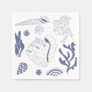Seamless pattern with sea shells paper napkin