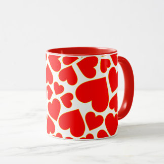 Seamless red heart shape pattern mug