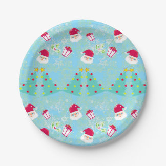 Seamless Santa pattern Paper Plate