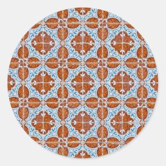 Seamless tile pattern classic round sticker