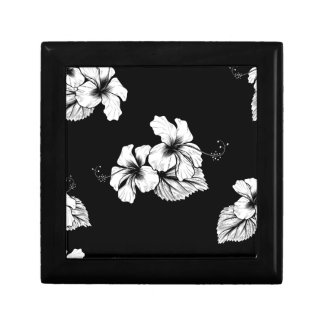 Seamless Tropical Hibiscus Flowers Background Small Square Gift Box