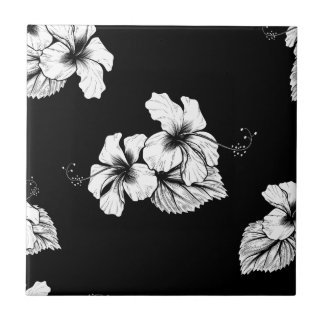 Seamless Tropical Hibiscus Flowers Background Small Square Tile
