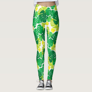 Seamless Tropical Palm Leaves Leggings