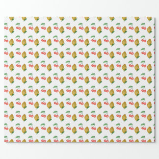 Seamless watercolor lemons and cherries wrapping paper