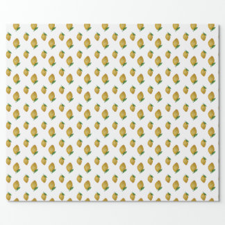 Seamless watercolor lemons pattern wrapping paper