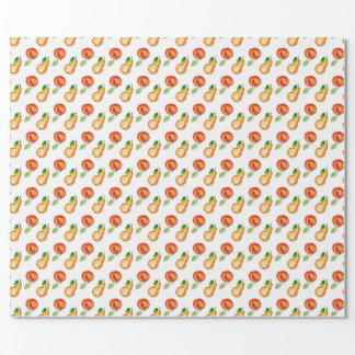 Seamless watercolor pattern with applea and pears wrapping paper