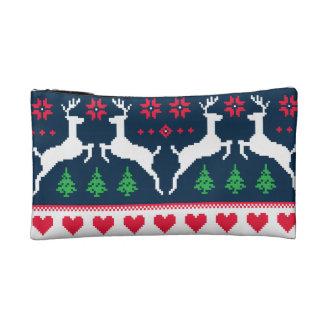 Seamless winter pattern Christmas bag Makeup Bags
