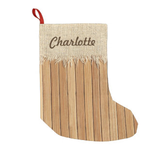 Seamless Wood Pattern & Burlap Texture Custom Name Small Christmas Stocking