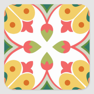 Seamless yellow ornament tiles square sticker