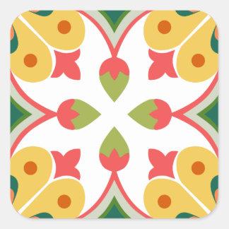 Seamless yellow ornament tiles square sticker