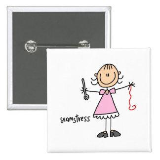 Seamstress Stick Figure Button