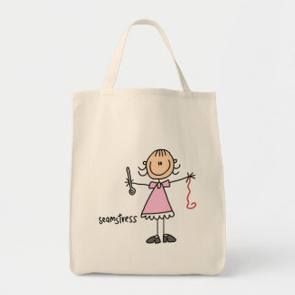 Seamstress Stick Figure Grocery Tote Bag