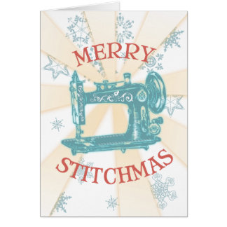 Seamstress vintage sewing machine christmas card