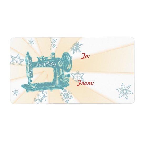 Seamstress vintage sewing machine christmas label