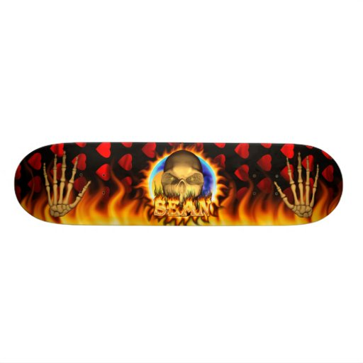 Sean skull real fire and flames skateboard design