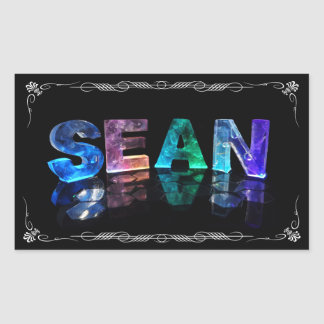 Sean  - The Name Sean in 3D Lights (Photograph) Rectangular Sticker