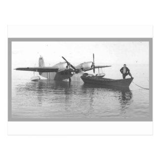 seaplane and boat postcard