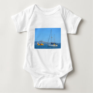 Seaplane and yacht. baby bodysuit