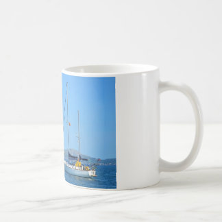 Seaplane and yacht. coffee mug