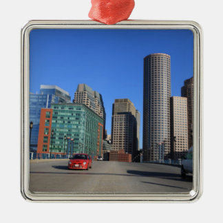 Seaport Blvd bridge and Boston skyline.Boston is Christmas Ornament