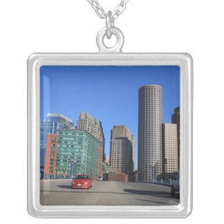 Seaport Blvd bridge and Boston skyline.Boston is Silver Plated Necklace