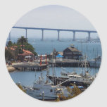 Seaport Village And Coronado Seen From The Deck Of Round Stickers