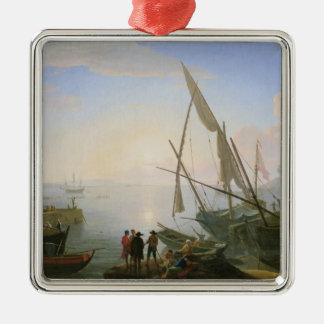 Seaport with sunset christmas ornament