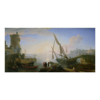 Seaport with sunset poster