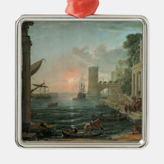 Seaport with the Embarkation Silver-Colored Square Decoration