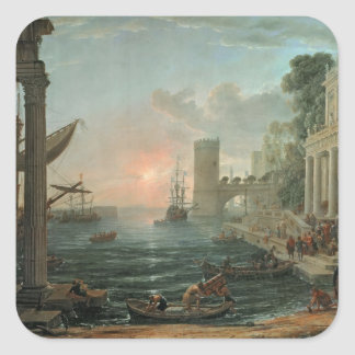 Seaport with the Embarkation Square Sticker