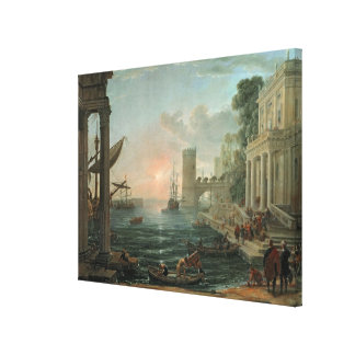 Seaport with the Embarkation Stretched Canvas Print