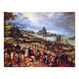 Seaport With The Preaching Of Christ By Bruegel D. 11 Cm X 14 Cm Invitation Card