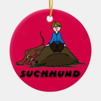 Search dog round ceramic decoration