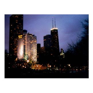 sears tower evening postcard