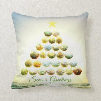 Seas and Greetings Shell Christmas Tree Pillow