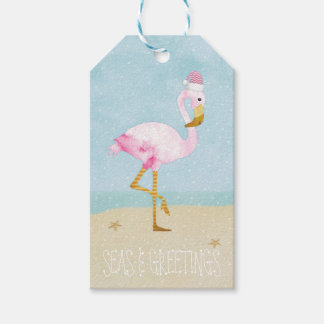 Seas and Greetings Watercolor Pink Flamingo Gift Tags