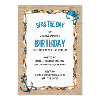 Seas the Day Anchor and Crab Birthday Card
