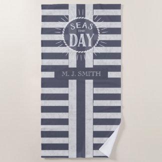 Seas the Day Bold Nautical Stripes and Name Beach Towel