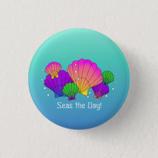 Seas the Day! Caribbean Seashells with Bubbles 3 Cm Round Badge