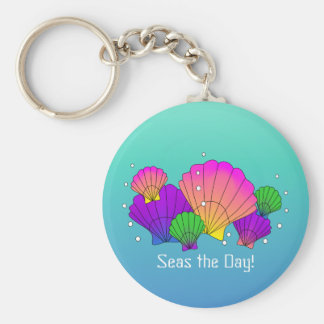 Seas the Day! Caribbean Seashells with Bubbles Key Ring