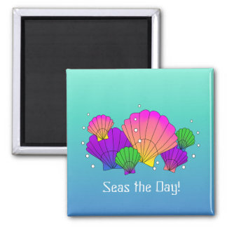 Seas the Day! Caribbean Seashells with Bubbles Magnet