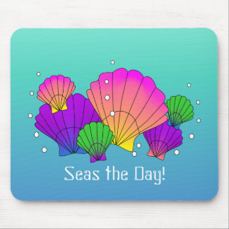 Seas the Day! Caribbean Seashells with Bubbles Mouse Mat