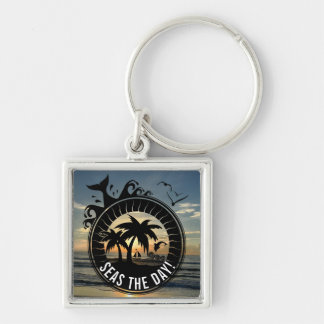 Seas the Day   Funny Beach Pun Tropical Sunset Key Ring