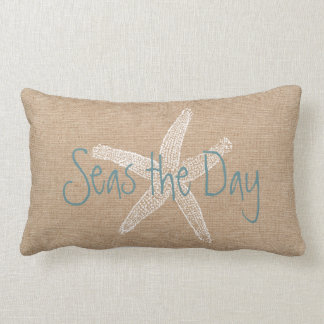 Seas the Day Vintage Starfish on Canvas Look Lumbar Cushion
