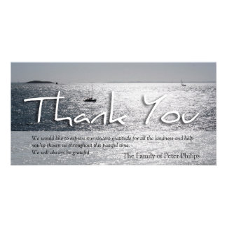 Seascape 3 Modern Sympathy Thank You Card