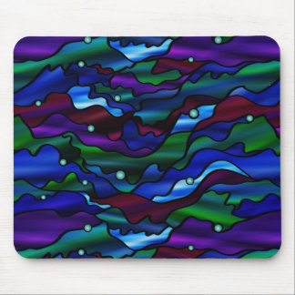 Seascape Abstract Stained Glass Design Mouse Pad