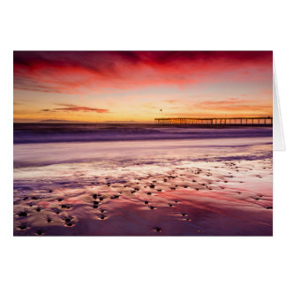 Seascape and pier at sunset, CA Card